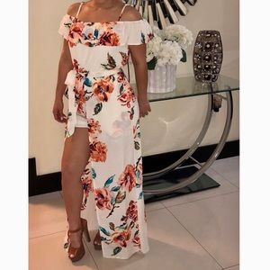 Dresses & Skirts - Floral Maxi Dress with Shorts